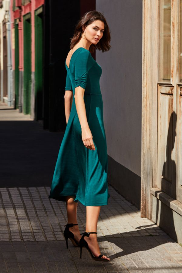 Jade Green Ribbed Sweetheart Neckline Dress