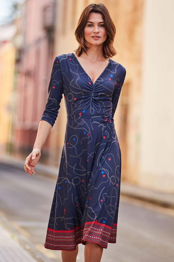 Navy Blue Chain & Charm Print Slinky Midi Dress