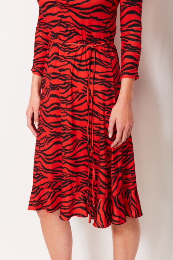 Tiger Print Slinky Midi Dress