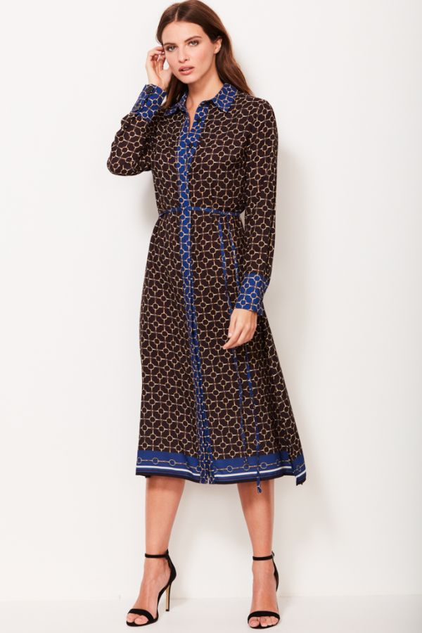 Black & Gold Chain Print Shirt Dress