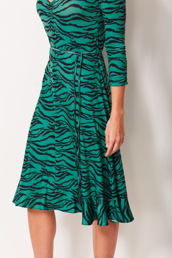 Green Tiger Print Slinky Midi Dress