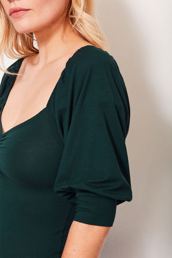 Dark Green Sweetheart Neckline Top