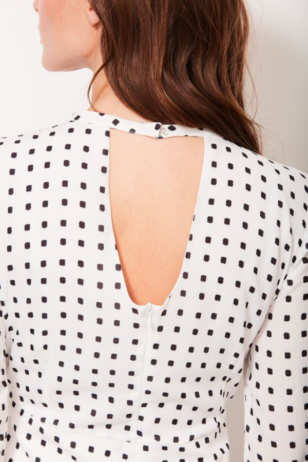 White & Black Square Polka Dot Dress