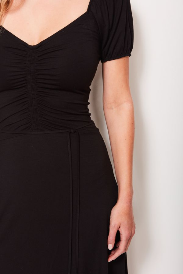 Black Ruched Front Midi Dress
