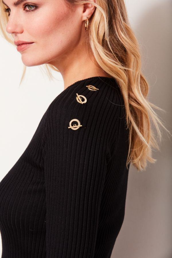 Black Gold Detail Rib Knitted Jumper