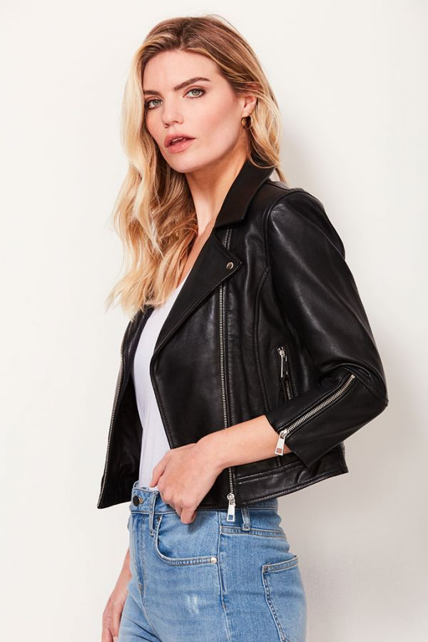 Black 3/4 Sleeve Leather Biker Jacket