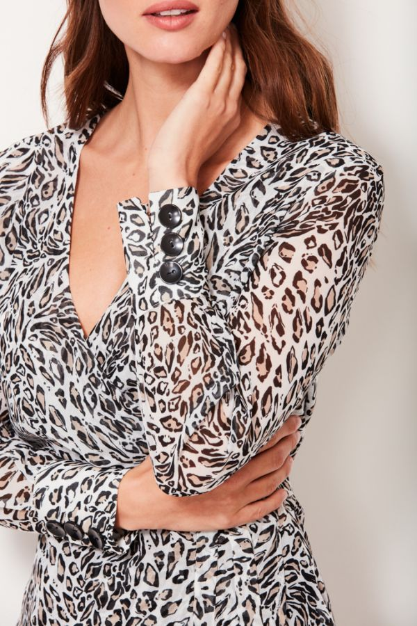 White Leopard Print Wrap Top