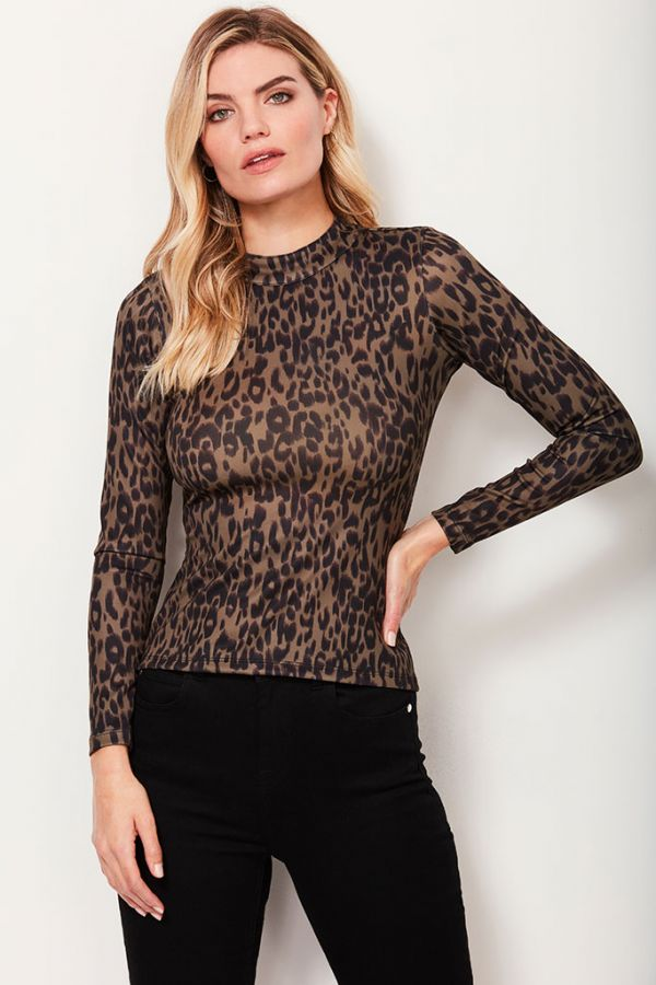 Khaki Leopard Print Open Back Top