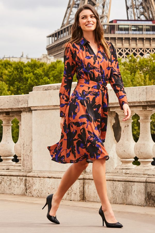 Copper Floral Print Belted Fit & Flare Dress