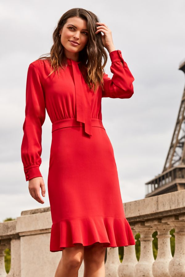 Red Tie Neck Fit & Flare Dress
