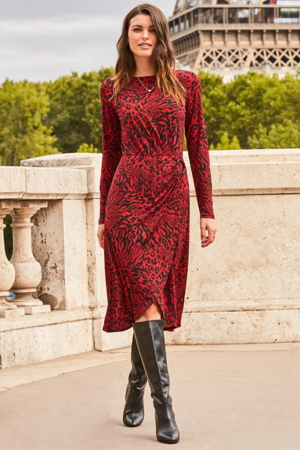 Red & Black Animal Print Hoop Detail Wrap Dress