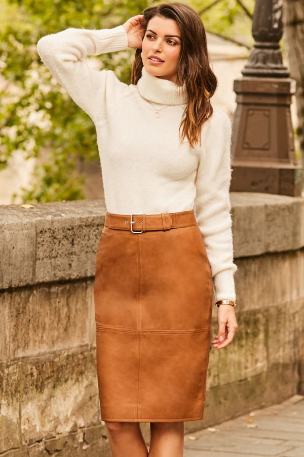 Tan Leather Buckle Detail Pencil Skirt