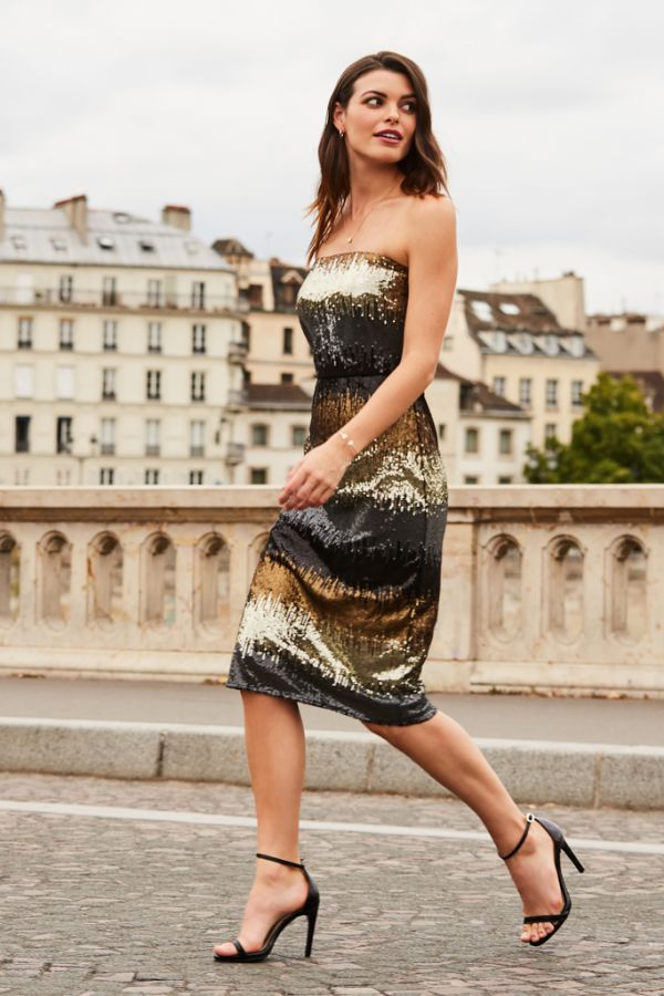 Gold Ombre Sequin Bandeau Dress