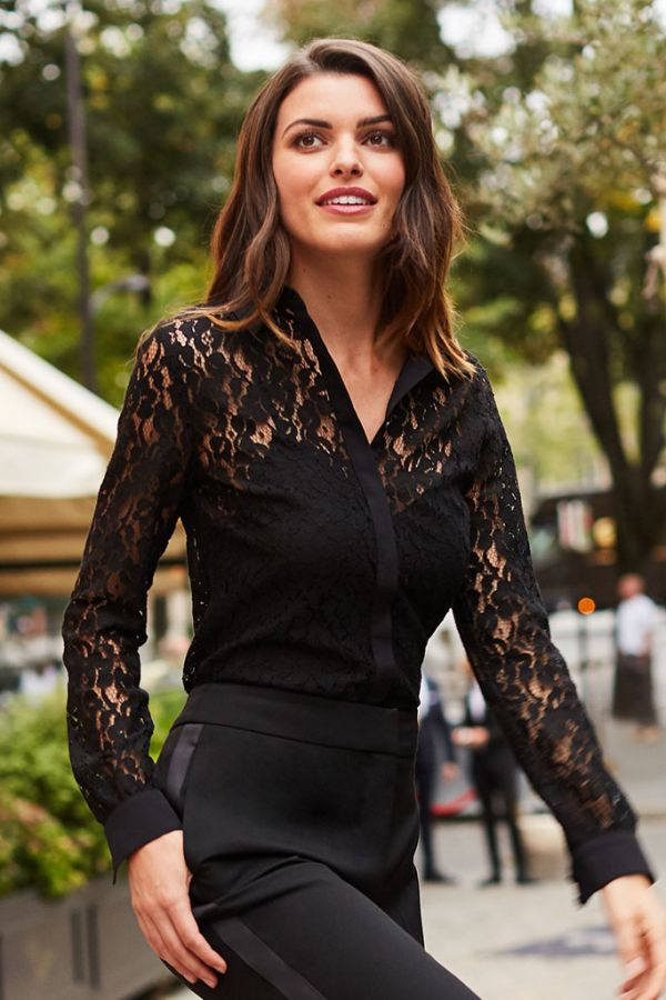 Black Luxe Lace Shirt
