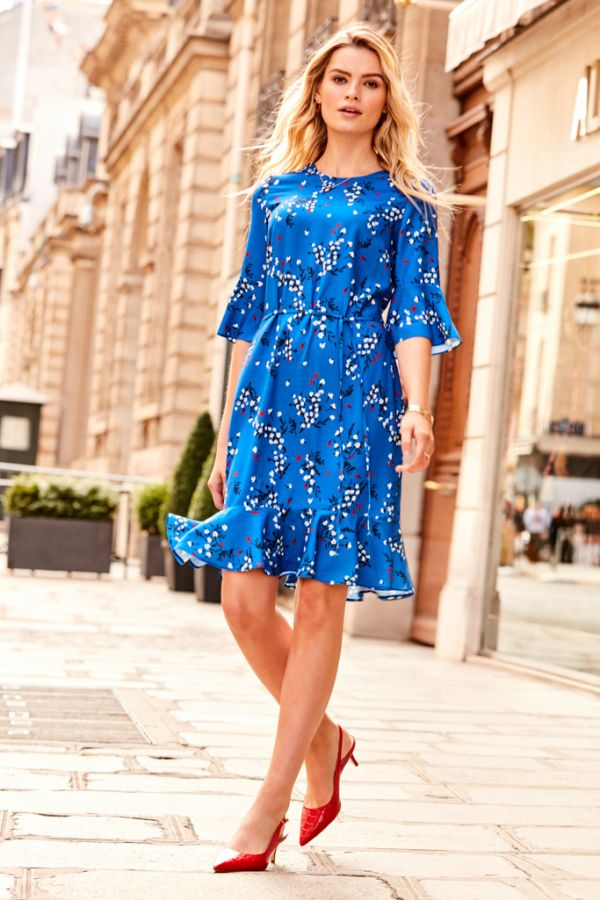 Blue Floral Print Ruffle Hem Dress