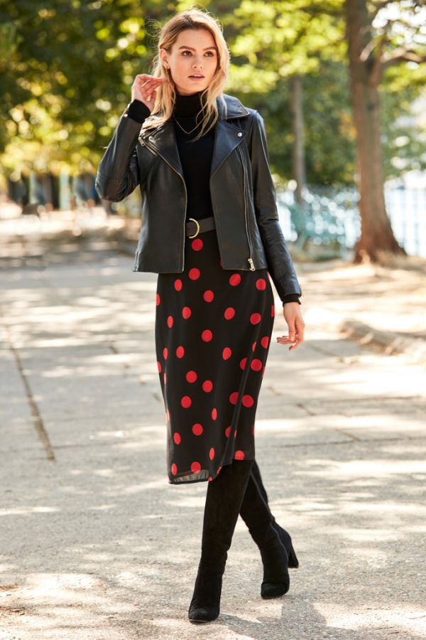 Black & Red Spot Print Midi Skirt