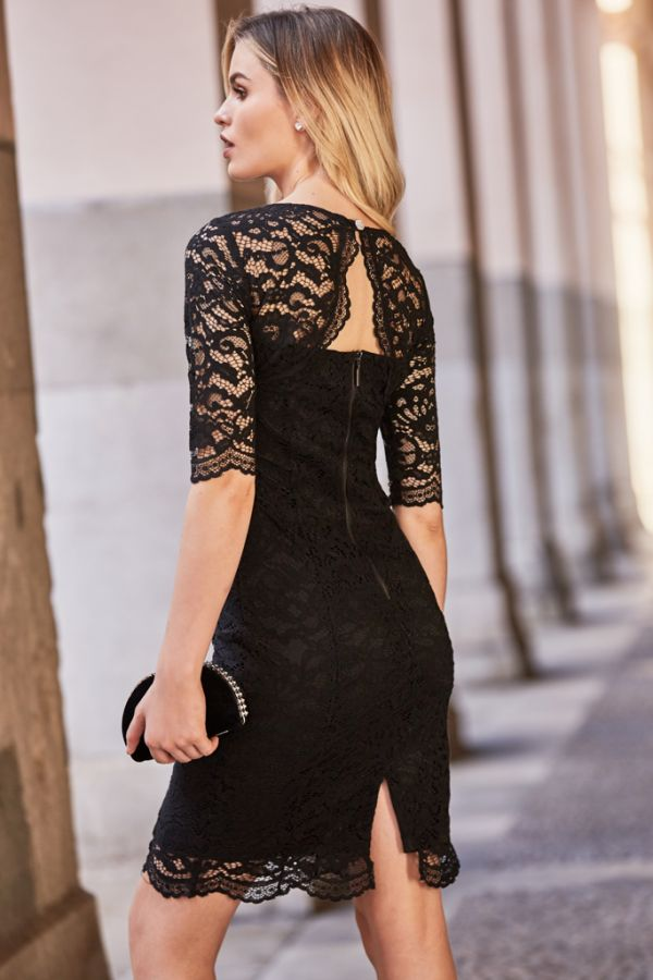 Black Lace Cut Out Back Detail Dress