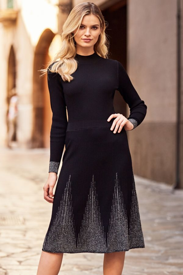 Black Metallic Detail Fit & Flare Knitted Dress