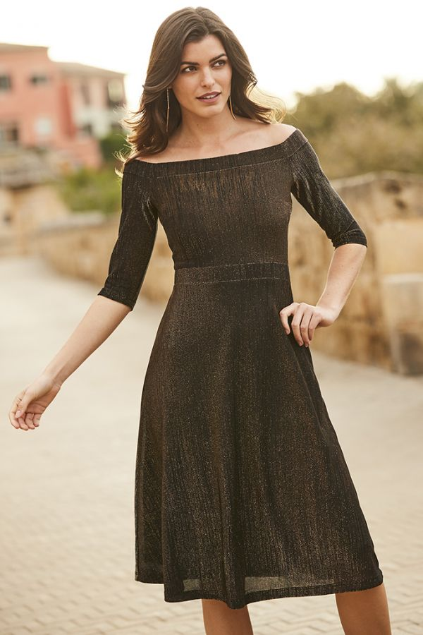 Bronze Metallic Bardot Fit & Flare Dress