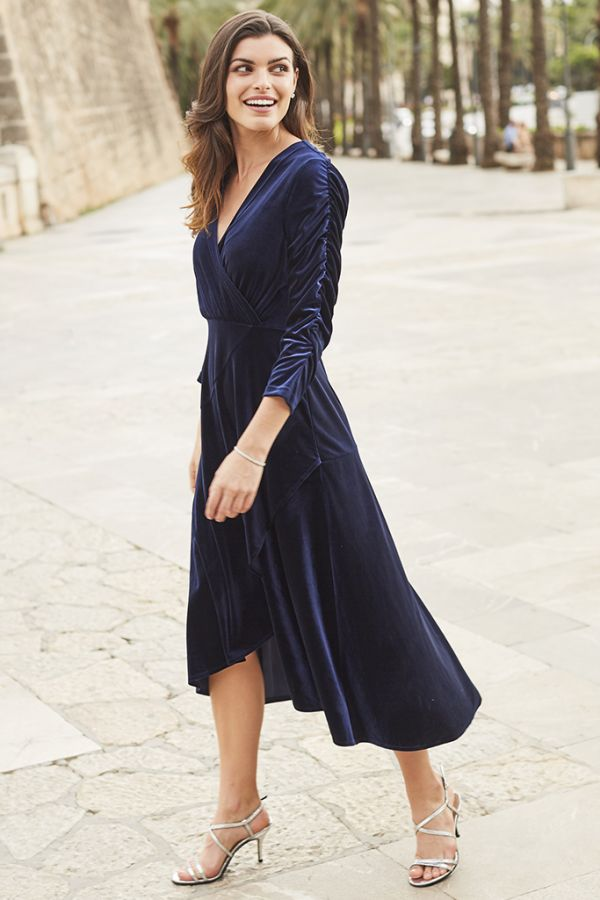 Navy Blue Velvet Faux Wrap Dress