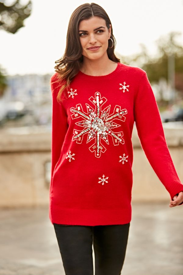 Red Sequin Snowflake Knit Jumper