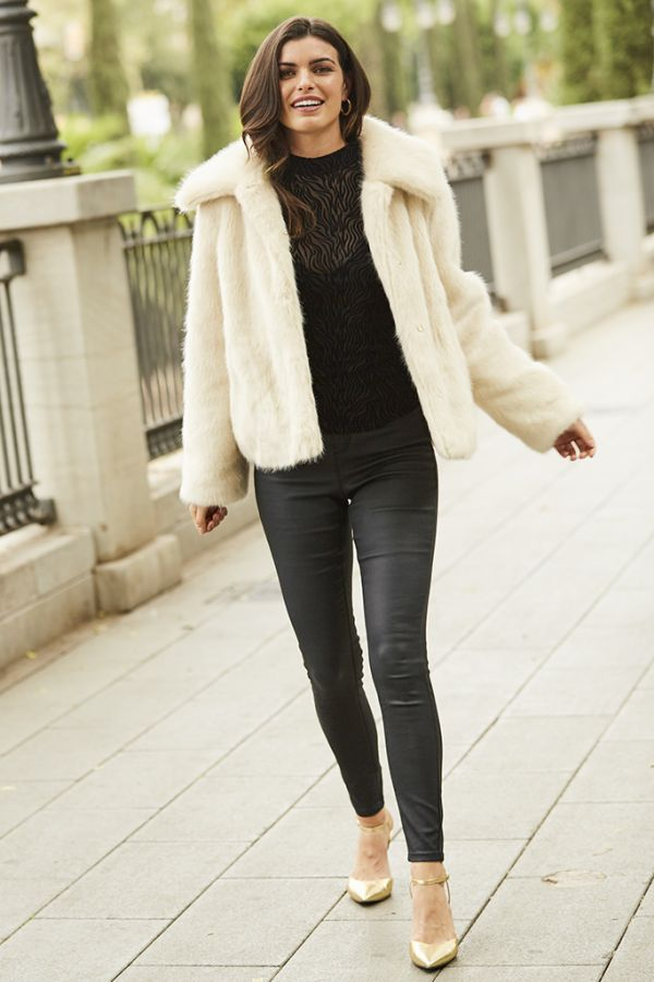 Cream Faux Fur Cropped Jacket