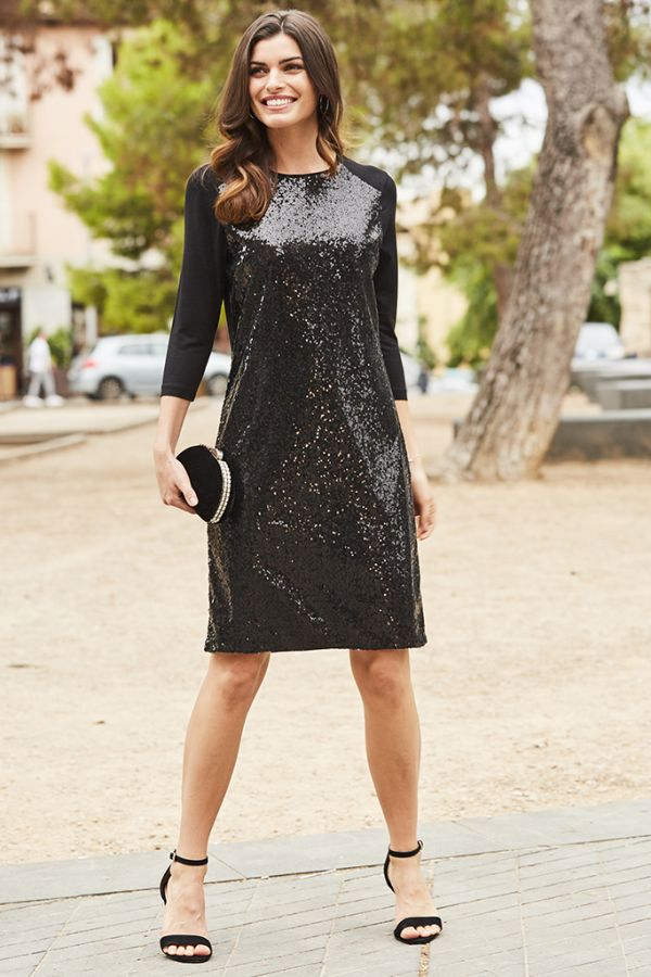 Black Sequin Front Jersey Shift Dress