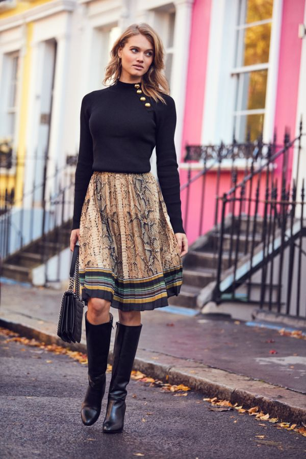 Snakeskin & Stripe Pleated Skirt