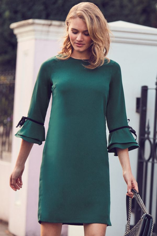 Forest Green Velvet Tie Sleeve Shift Dress