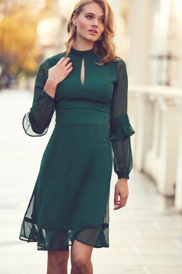 Forest Green Fit & Flare Ruffle Dress