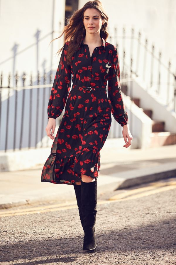 Red Poppy Print Tiered Shirt Dress