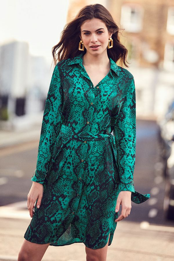 Green Snake Print Belted Shirt Dress
