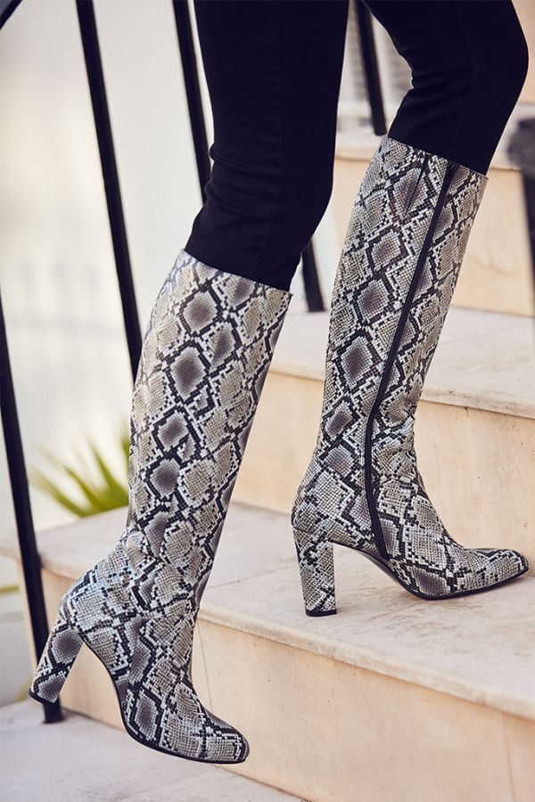 Snake Print Leather Knee High Boot