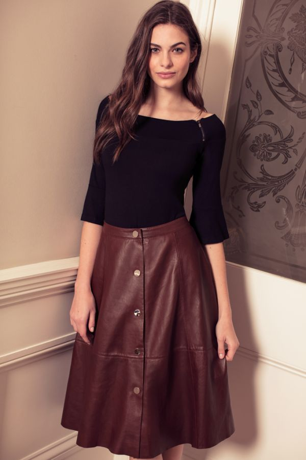 Burgundy Leather Popper Front Skirt