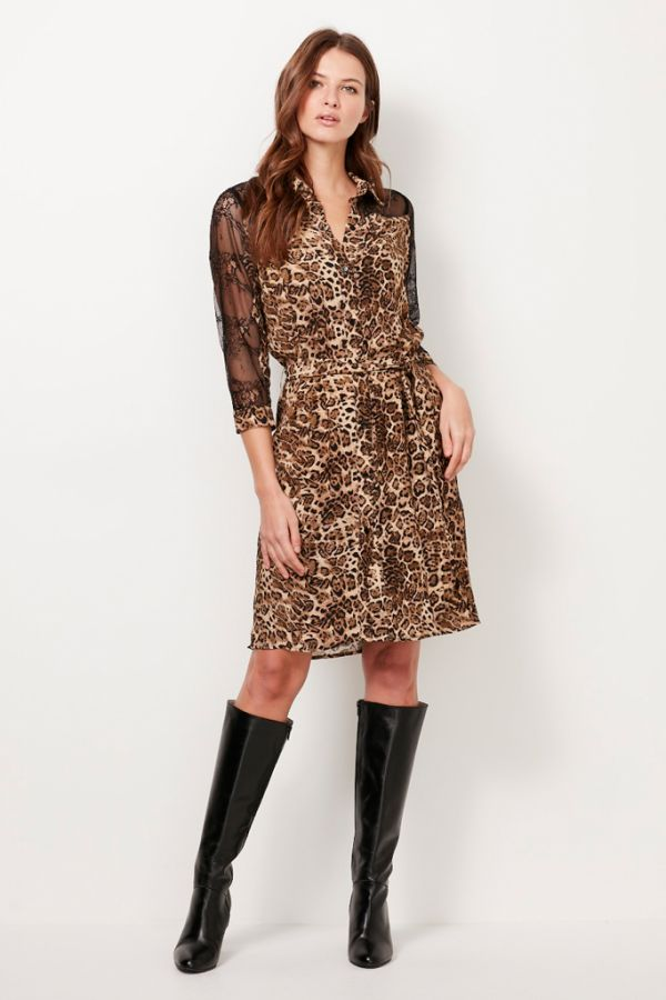 Leopard & Lace Shirt Dress