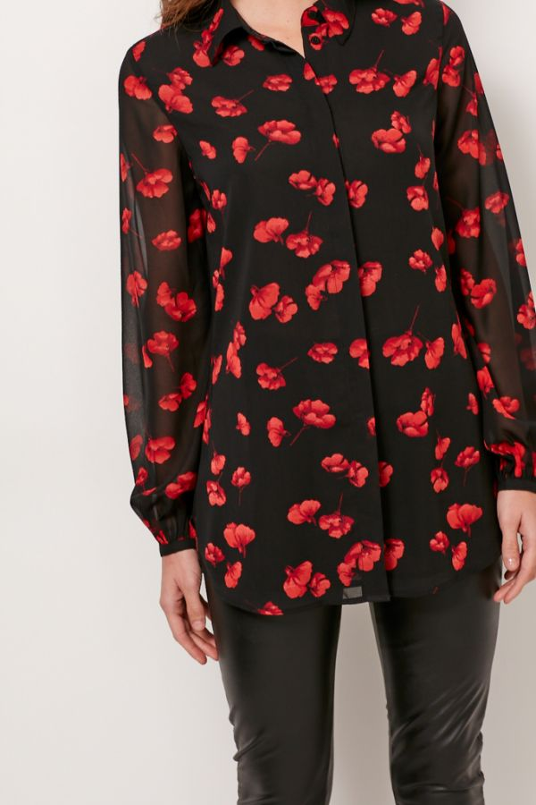 Red Poppy Print Blouse