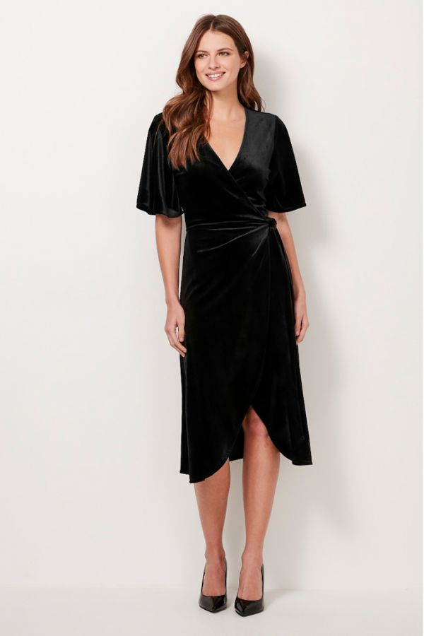 Black Velvet Wrap Dress