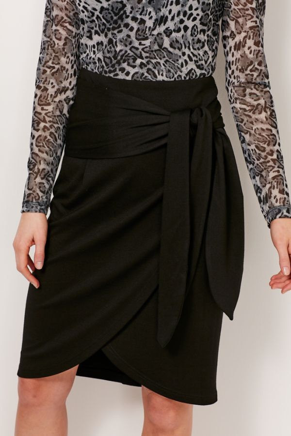 Black Waist Tie Faux Wrap Skirt
