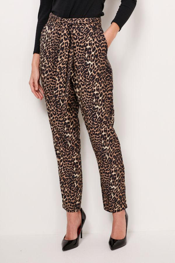 Leopard Print Belted Trouser