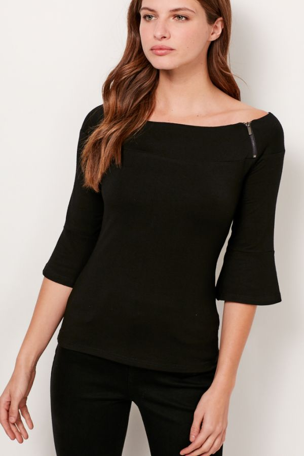 Black Zip Detail Bardot Top