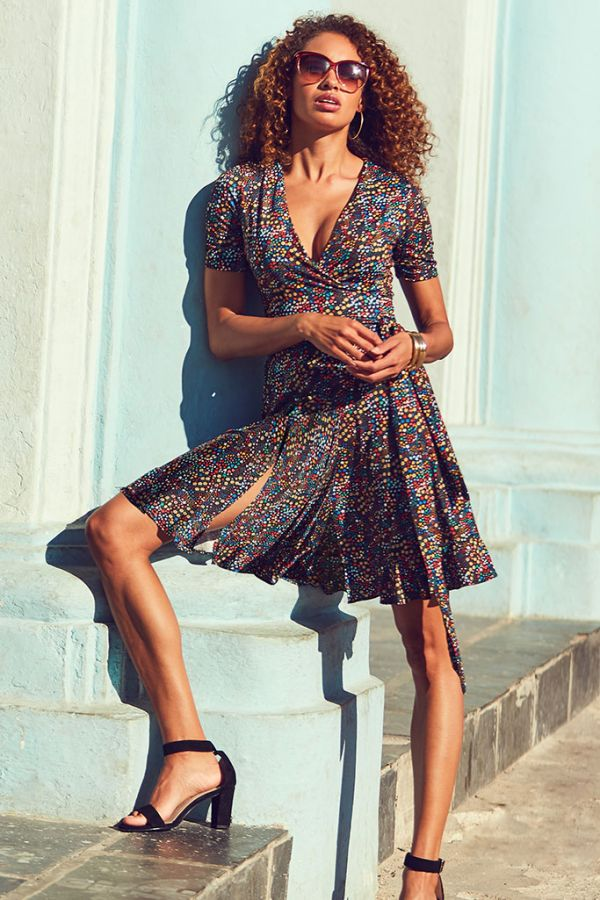 Black Ditsy Floral Print Slinky Wrap Dress