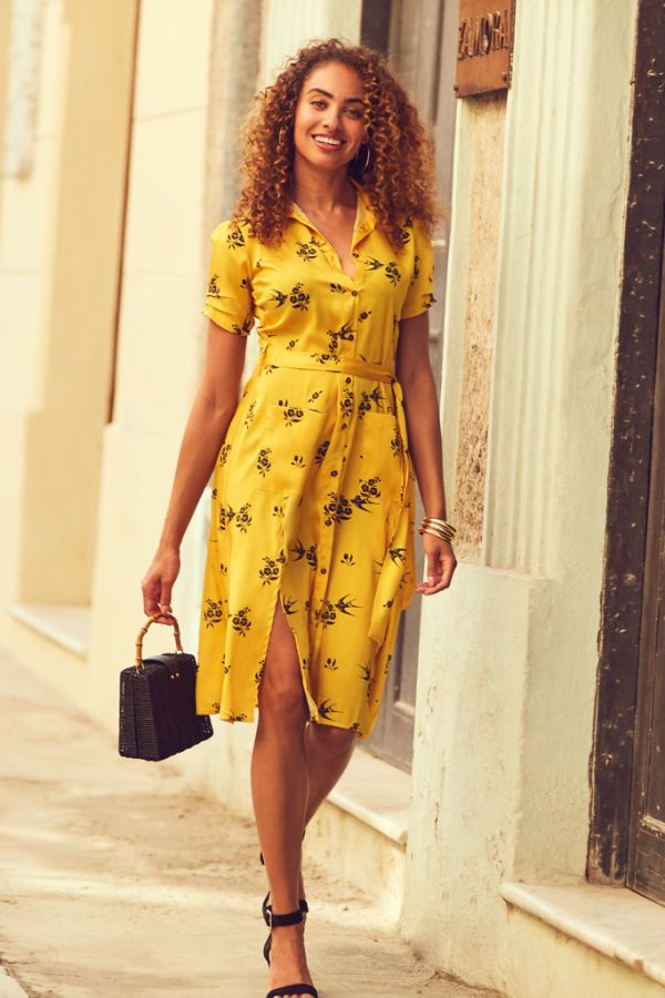 Yellow Bird Print Belted Shirt Dress