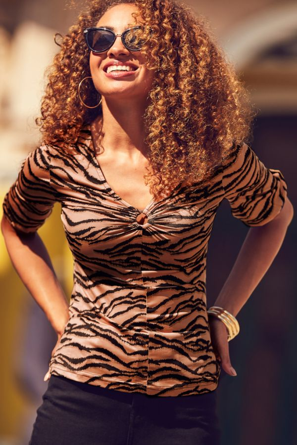 Tiger Print Ring Detail V Neck Top