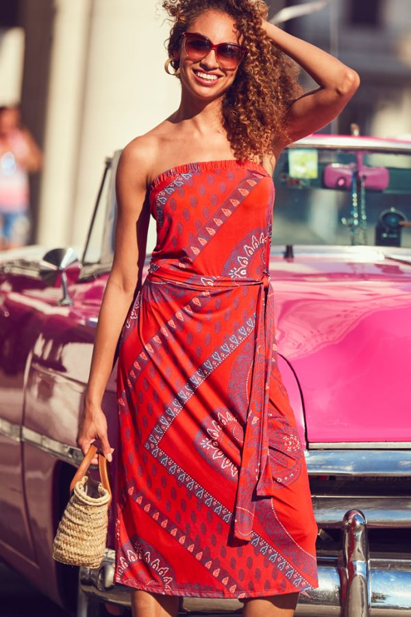 Red Scarf Print Bandeau Dress