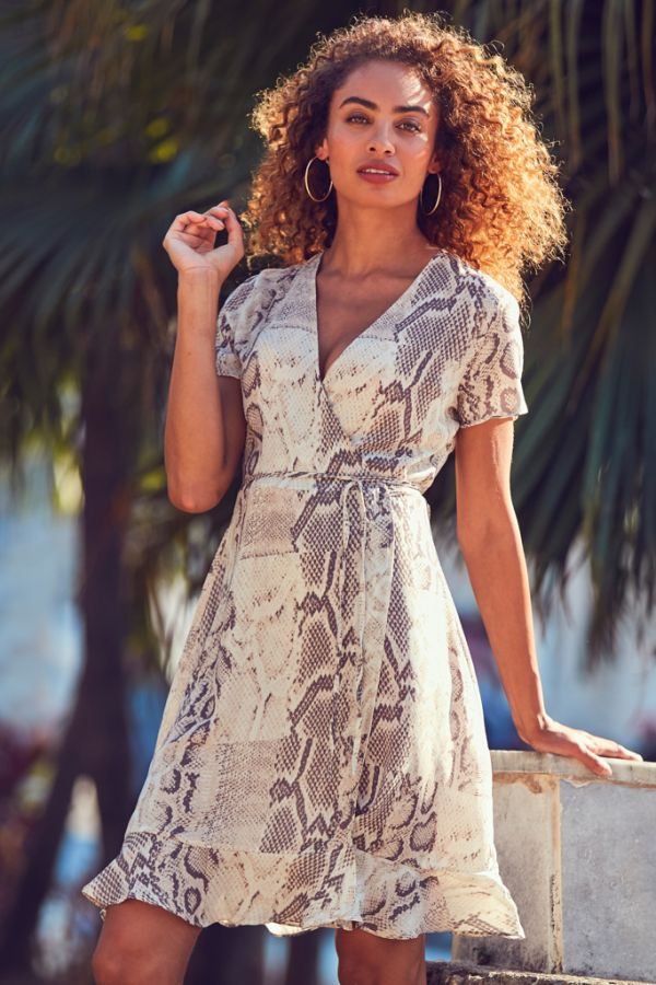 Coffee & Cream Animal Print Ruffle Wrap Dress