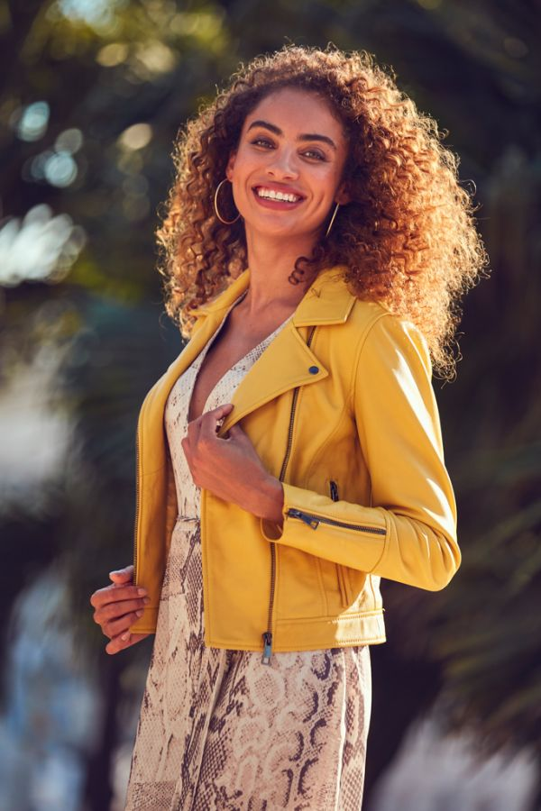 Yellow Leather Biker Jacket