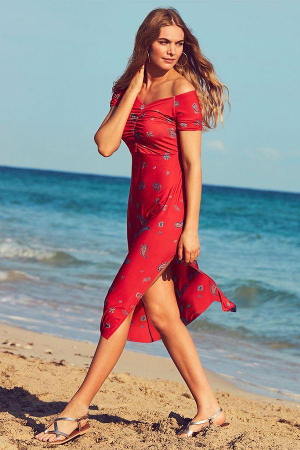 Red & Navy Print Off The Shoulder Slinky Dress