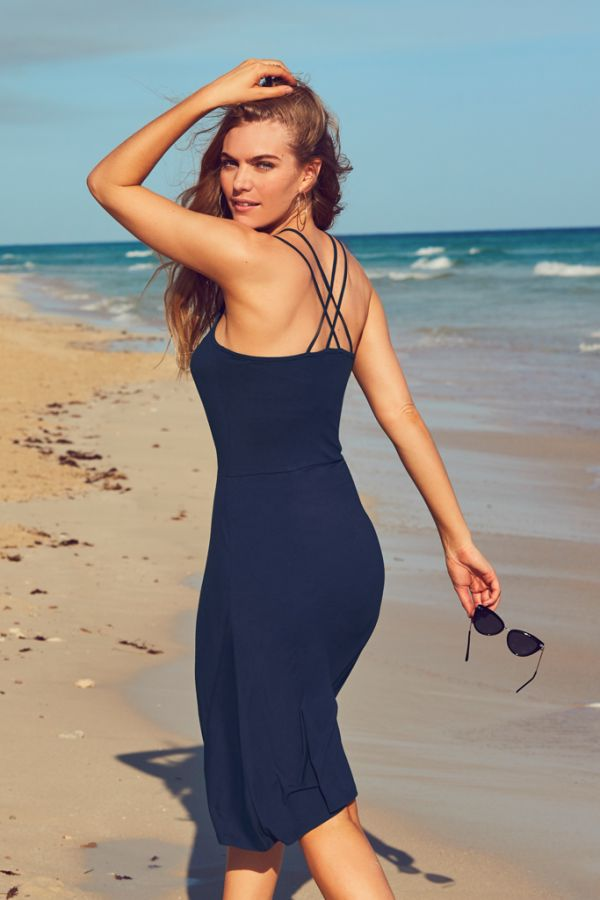 Navy Blue Double Cross Back Midi Dress