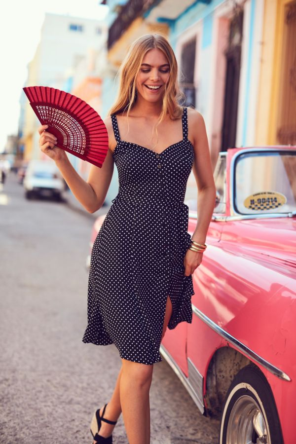 Black & White Polka Dot Button Front Dress