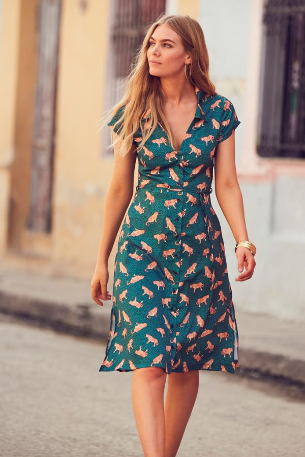 Green Jaguar Print Shirt Dress